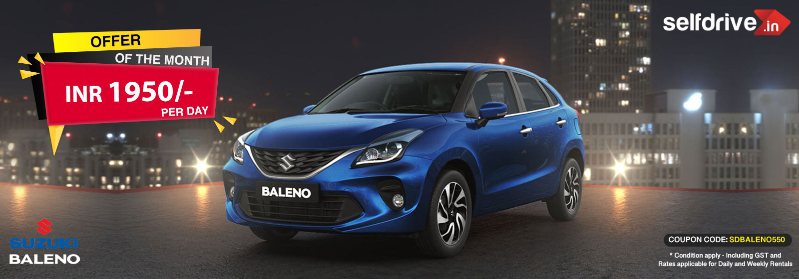 Rent a Baleno Automatic at just 1950 Rs per day
